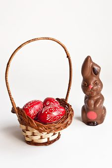 Free Chocolate Bunny And Easter Eggs Royalty Free Stock Photos - 13563958