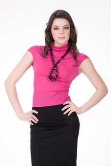 Young Woman In Fashionable Clothing Royalty Free Stock Photos