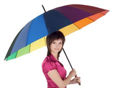 Free Young Lady Standing With Color Umbrella Stock Image - 13564851