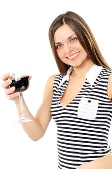 Free Beautiful Woman With Glass Red Wine Royalty Free Stock Photo - 13565095