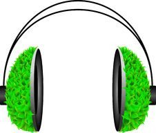 Free Pop Art Headphone With Green Leafs Stock Photography - 13565102