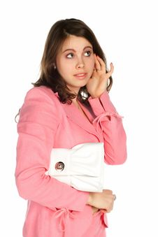 Free Beautiful Young Thinking Woman With A White Bag Stock Photos - 13565493