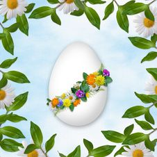 Easter Card For The Holiday  With Egg Stock Images