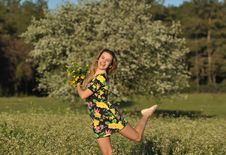 Beautiful Young Woman Jumping In Blooming Meadow Royalty Free Stock Photos