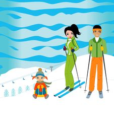 Free Family Skiing Stock Photo - 13569160