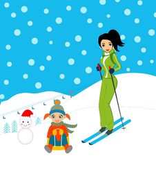 Free Mother And Daughter Skiing Stock Images - 13569244