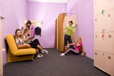 Girls In The Locker Room Royalty Free Stock Image