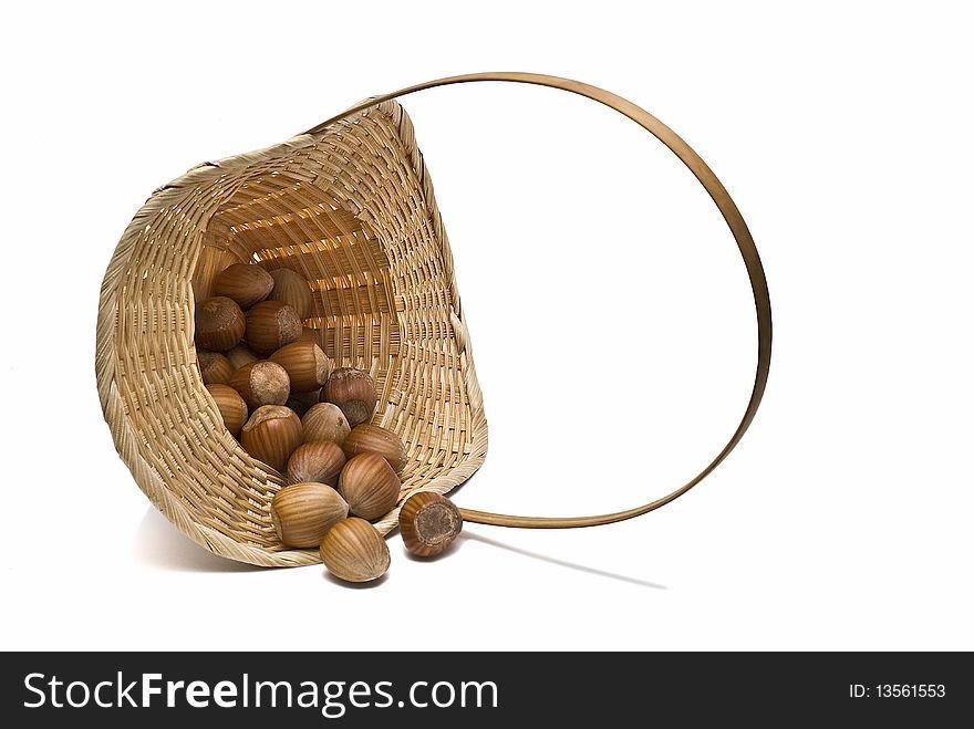 A basket with hazelnuts.
