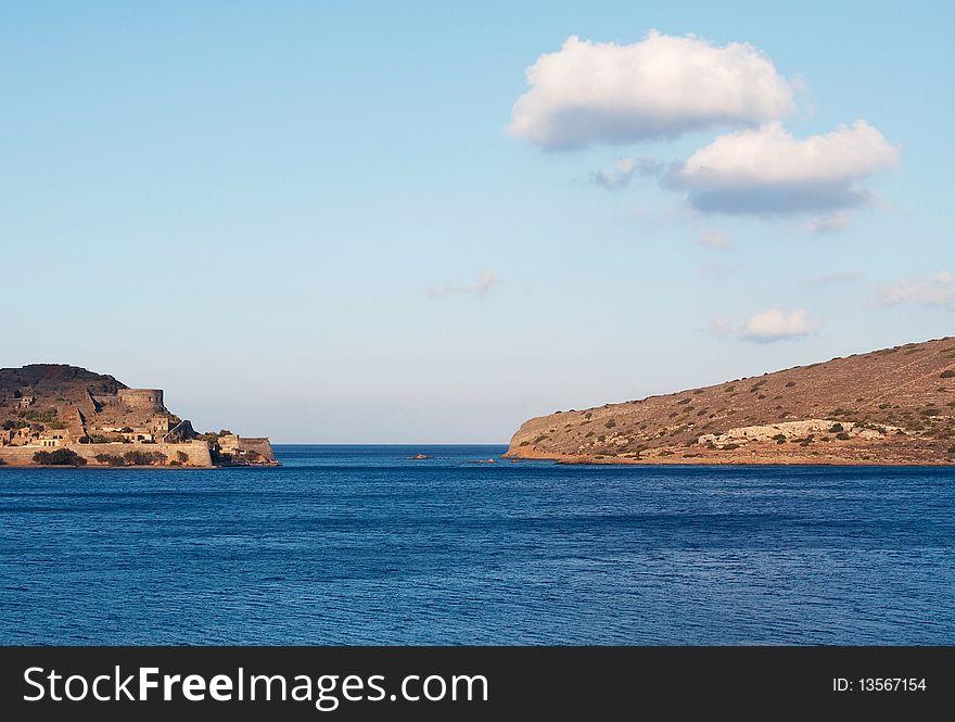 View of Spinalonga island in Crete.
