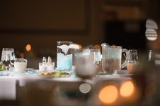 Free Table Filled With Glasses And Candle Royalty Free Stock Image - 135668646