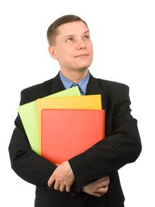 Free Businessman With Colored Folders Stock Photography - 13570432