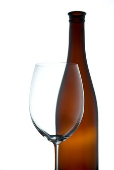 Free Empty Wineglass And Bottle Stock Images - 13572174
