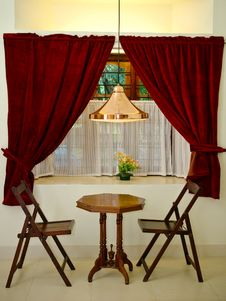 Free Antiques And Red Velvet Curtains Royalty Free Stock Image - 13572856