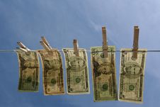 Free Horizontal Money On Clothesline Royalty Free Stock Images - 13573149