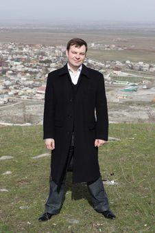 Man Poses On Bishkek Background Stock Image
