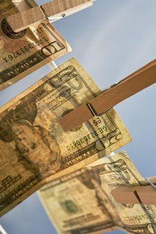 Free Diagonal Money On Clothesline Royalty Free Stock Image - 13573186