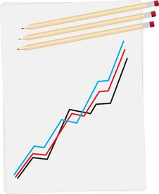 Statistics Drawn On Paper With Pencils Royalty Free Stock Images