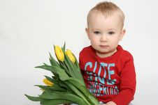 Free Boy With Flowers For Mummy Stock Image - 13573901
