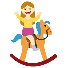 Free Girl Riding On Rocking Horse Stock Image - 13574121