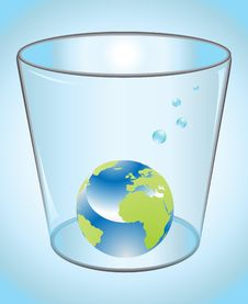 Earth Globe In Glass Of Water