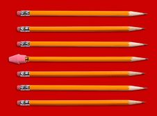 Yellow Pencils With Eraser Stock Photography