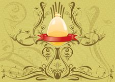 Golden Rabbit On The Egg With Ribbon For Text Royalty Free Stock Photos