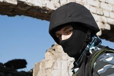 Free Portrait Of A Soldier In Helmet Stock Photography - 13579052