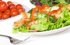 Free Salad With Shrimps And Vegetables Royalty Free Stock Photo - 13579095