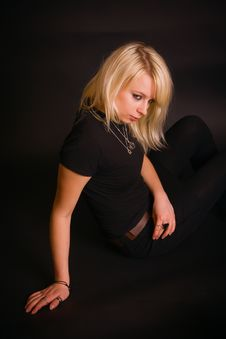 Free Black Dressed Blonde Stock Images - 13579384