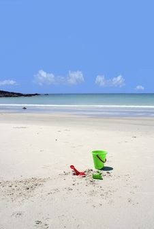 Free Colourful Beach Toys On A Secluded Beach Stock Image - 13579541