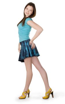 Free Lovely Brunette In Denim Skirt Stock Photo - 13579740