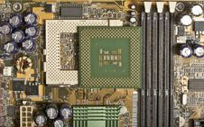 Free Computer Motherboard With Chips, Memory, Pci Royalty Free Stock Photography - 13579837