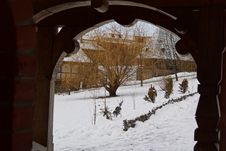Free The Winter Door.A View From A Church In Romania Stock Image - 135714171