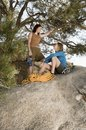 Free Two Women Climbers On Boulder Royalty Free Stock Images - 13585239