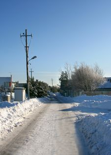 Winter Road In Countryside Stock Image