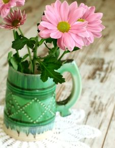 Chrysanthemum In Old Ceramic Mug Royalty Free Stock Images