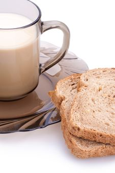 Free Bread And Cup Of Milk Royalty Free Stock Image - 13581836