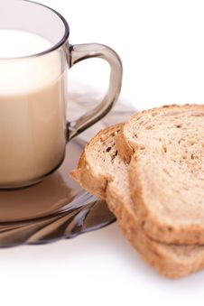 Bread And Cup Of Milk Stock Image
