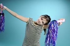 Free Little Girl Dancing With Purple Accessory Stock Images - 13582344