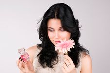 Free Beautiful Woman With Flower And  Perfume. Stock Images - 13582414