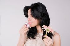 Free Beautiful Woman With Flower And  Perfume. Royalty Free Stock Photo - 13582415