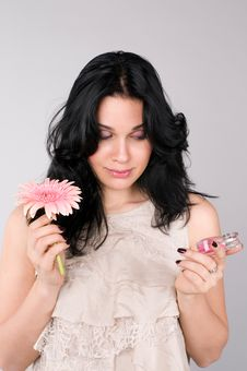 Free Beautiful Woman With Flower And  Perfume. Royalty Free Stock Image - 13582426
