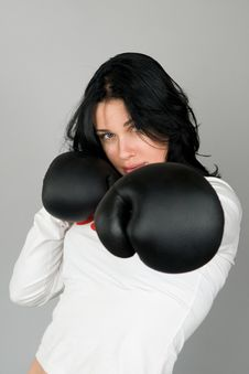 Free A Young Woman In Boxing Gloves Stock Photos - 13582443