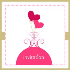 Valentine Heart Balloons - Invitation Card Stock Photo