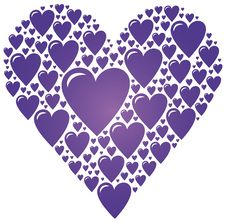 Big Heart Made Of Small Purple Hearts Stock Photo