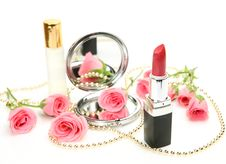 Free Decorative Cosmetics And Roses Royalty Free Stock Photos - 13583858