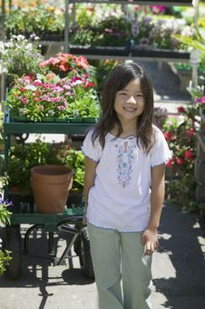 Free Young Girl Standing In Plant Nursery Royalty Free Stock Images - 13583929