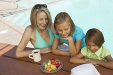 Free Girls And Grandmother Watching Tv Stock Images - 13583974
