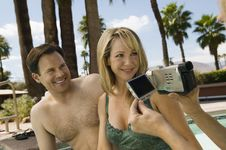 Free Woman Video Taping Couple Stock Photography - 13583982