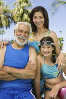 Free Girlwith Mother And Grandfather Royalty Free Stock Photography - 13584017